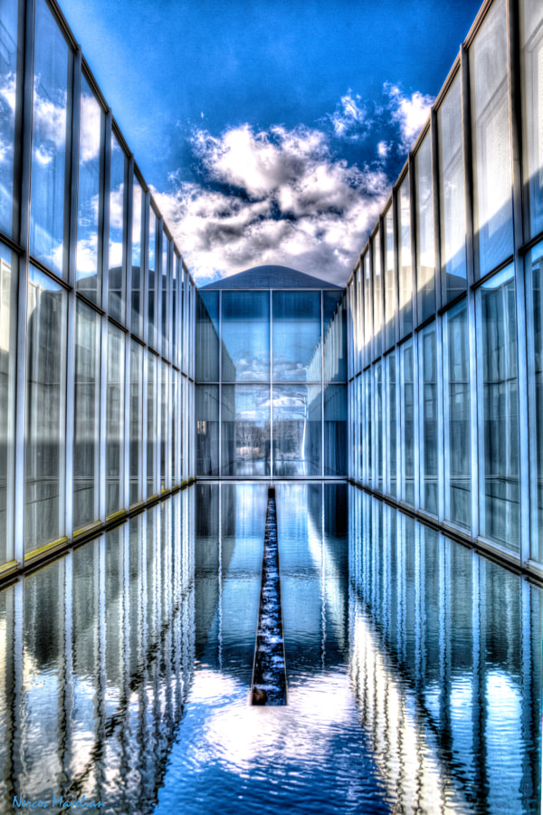Glass, Sky and Blue Water - Museum in Raleigh, North Carolina