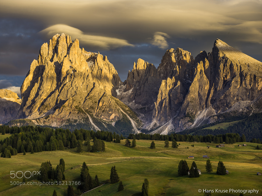 This photo was shot in the Dolomites at Alpe di Siusi in September 2013 before the PODAS photo workshop. It is shot with a Phase One IQ160 and DF+ camera with a Schneider Kreutznach 75-150 lens.  There will be a photo workshop covering this location and many others in June and October 2014.