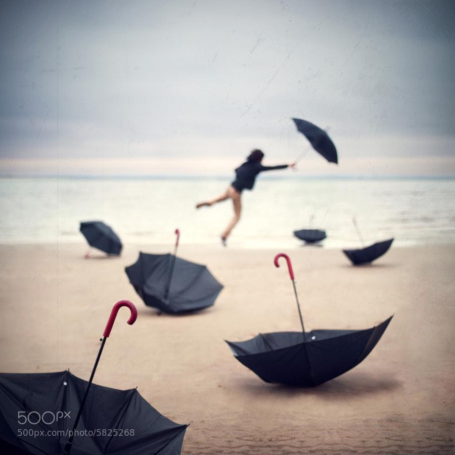 Umbrellas and seashore