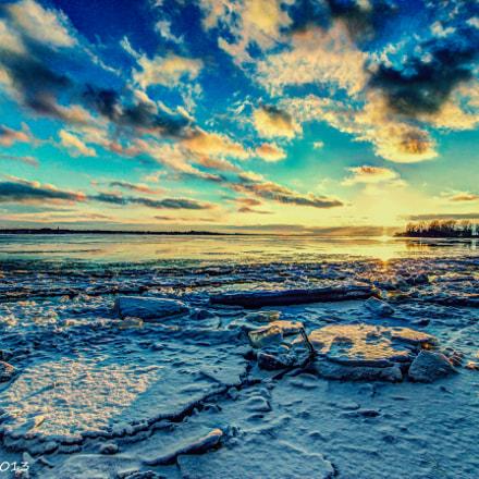 Winter Sunset on the Fleuve