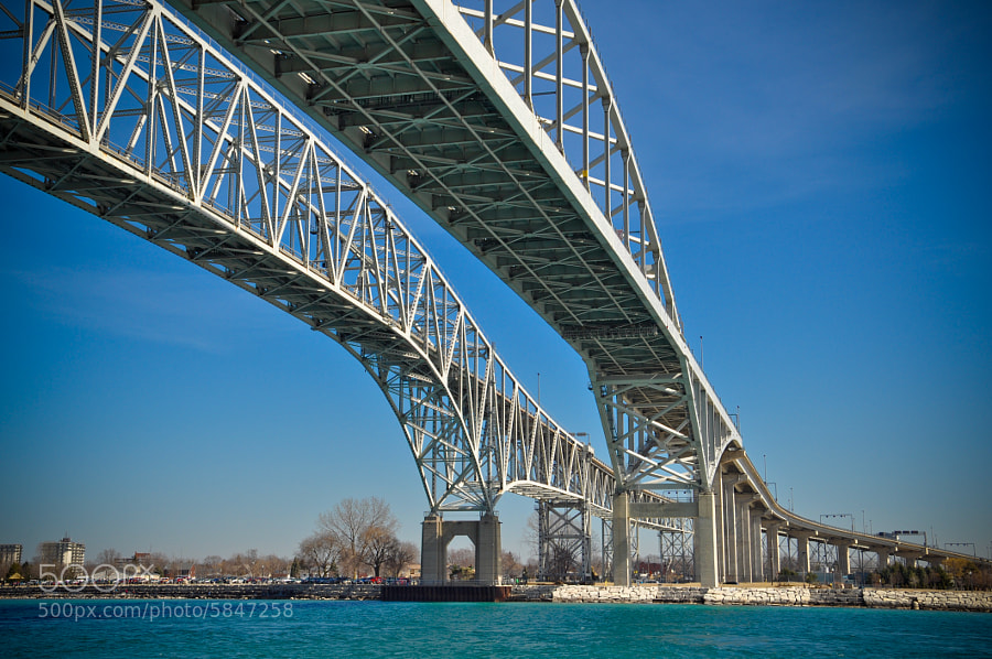 Border crossing, looking from Port Huron Michigan, USA to Sarnia, Ontario, Canada