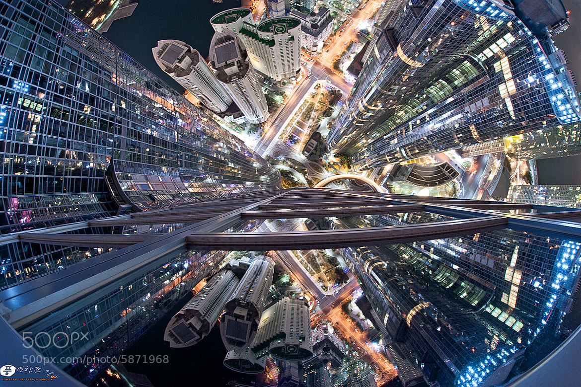 Photograph The night view of Busan as fisheye by sungkyu Choi on 500px