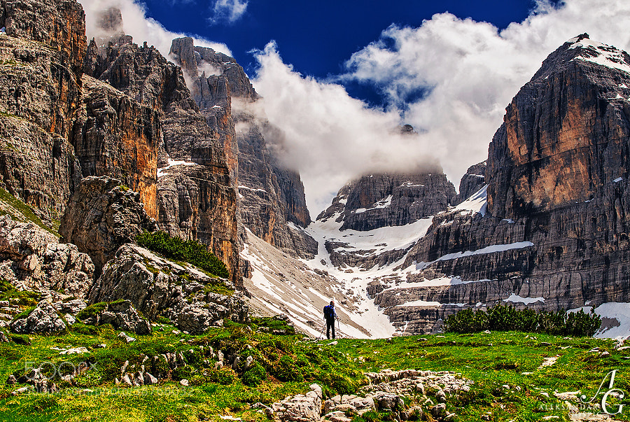 Stunned among the giant walls of the Brenta Dolomites