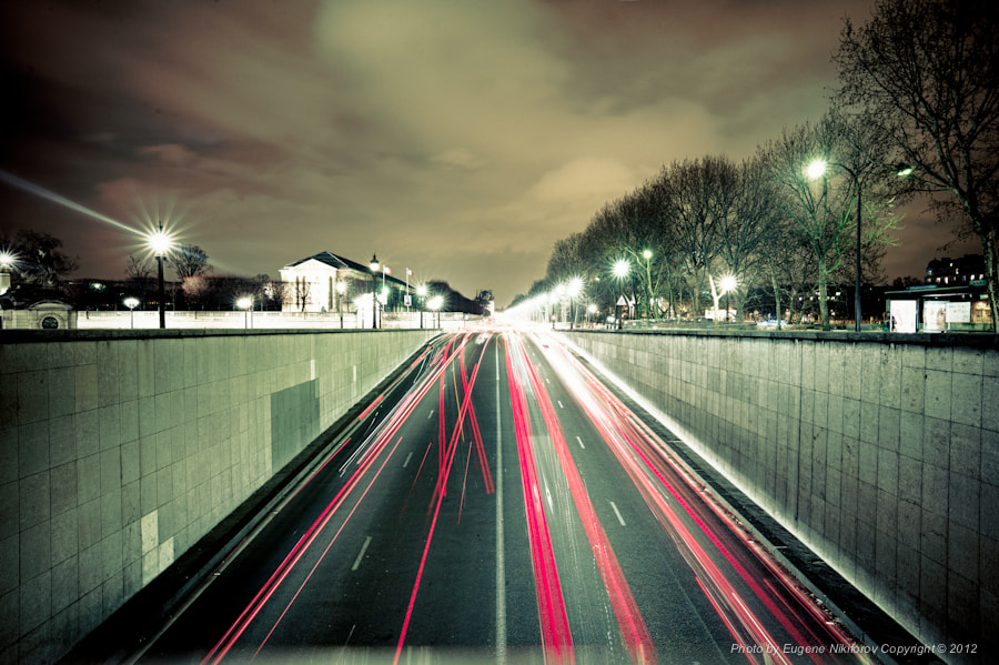 Photograph Paris, Night, Road by Eugene Nikiforov on 500px