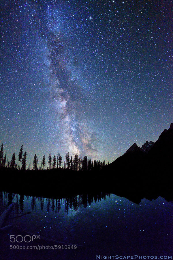 """Starry night sky and Milky Way over String Lake and Tetons, Grand Teton National Park.  Virtually all my NightScapes are ONE exposure (less than 30 seconds), and with very little Photoshop correction. For more how-to and behind the scenes information, visit my <a href=""""http://intothenightphoto.blogspot.com/"""">Into The Night Photography</a> blog. For Milky Way photography workshops, visit my <a href=""""http://intothenightphoto.blogspot.com/2013/11/royce-bairs-2014-photography-workshop.html"""">NightScape Events</a> page. You can <a href=""""http://roycebair.smugmug.com/Personal-Work/Nightscapes/"""">order PRINTS here</a>."""