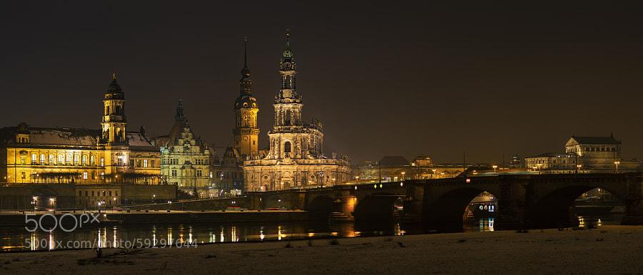 Dresden on a wet winter evening