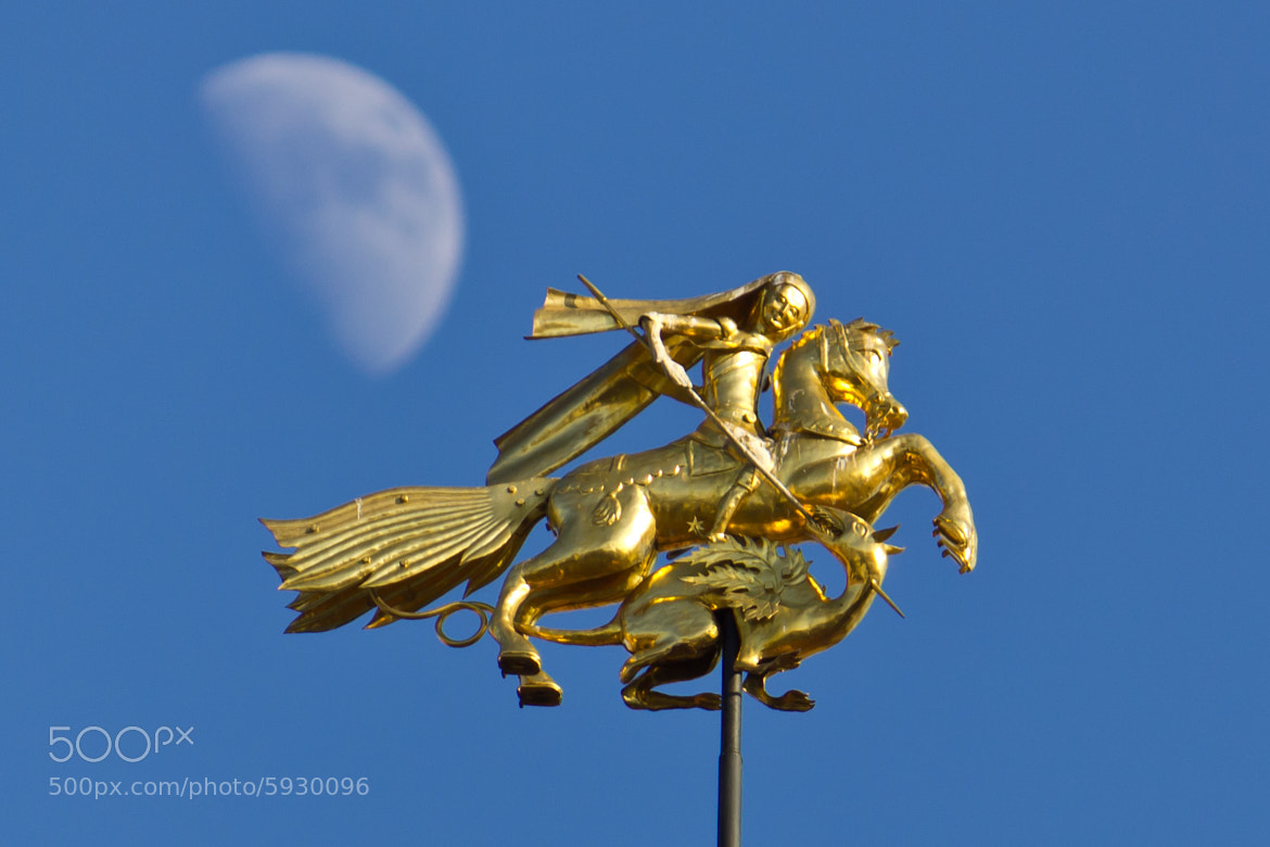 Photograph Golden wind vane & Moon by Andrew Kushnerov on 500px