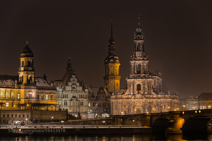 Dresden on a wet winter evening
