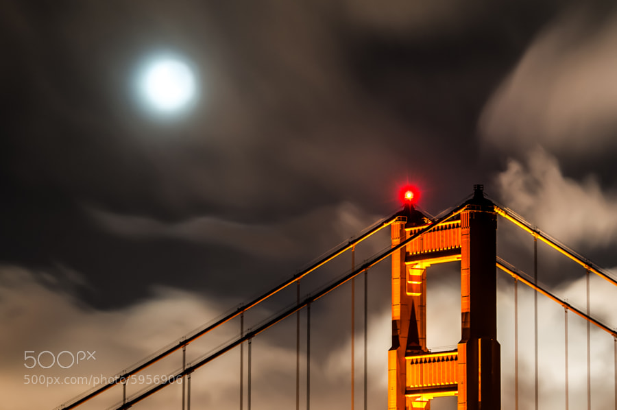 Photograph Golden Gate Bridge and the Moon by Peicong Liu on 500px