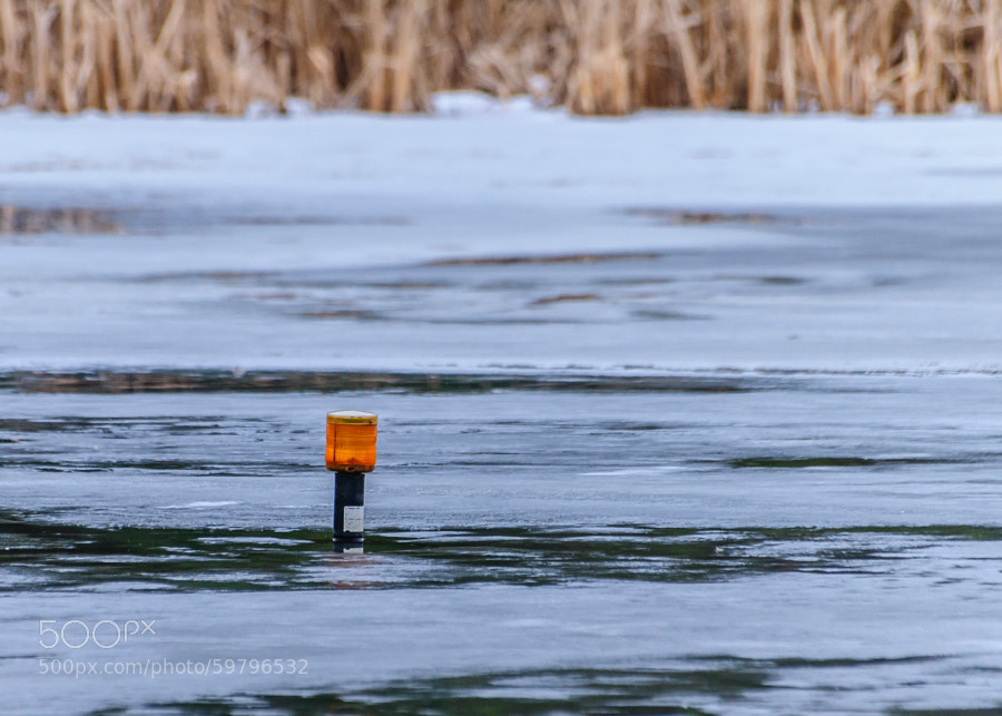 """It's the marker in the pond to signify it is there in the evening.  Everytime I go to the pond, I smile and remember back to the Beatles 'Yellow Submarine"""" and laugh.  Yes I am that old, and proud of it  :-)"""