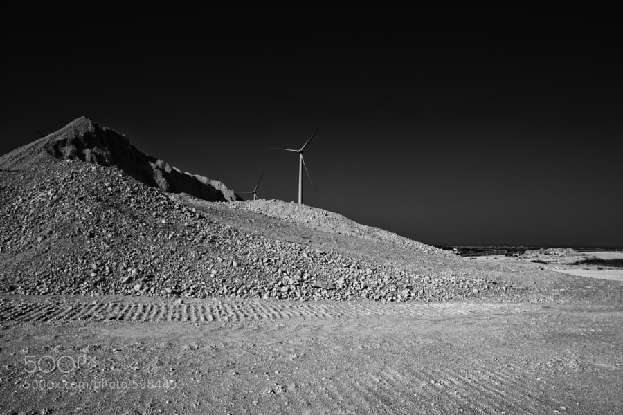 This was taken last year during the construction of the Tersefanou Wind farm, Larnaca, Cyprus. In black and white this place has a Moon Base feel about it.
