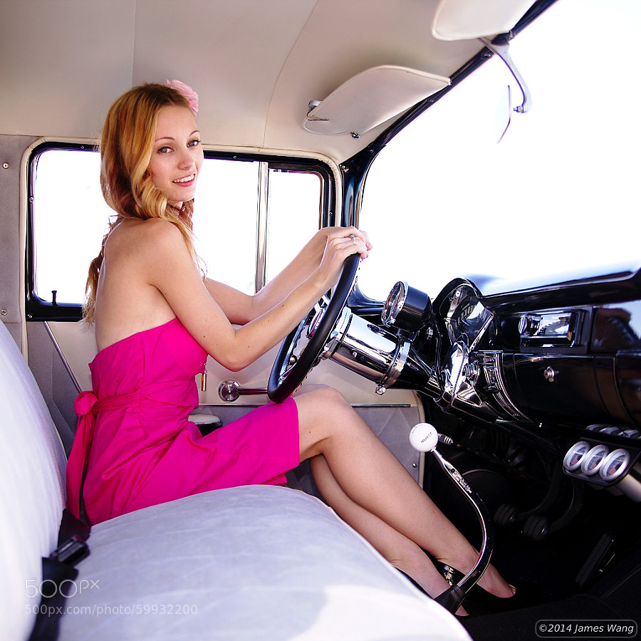 Kylie looking brilliant behind the wheel of the '47 Chevy