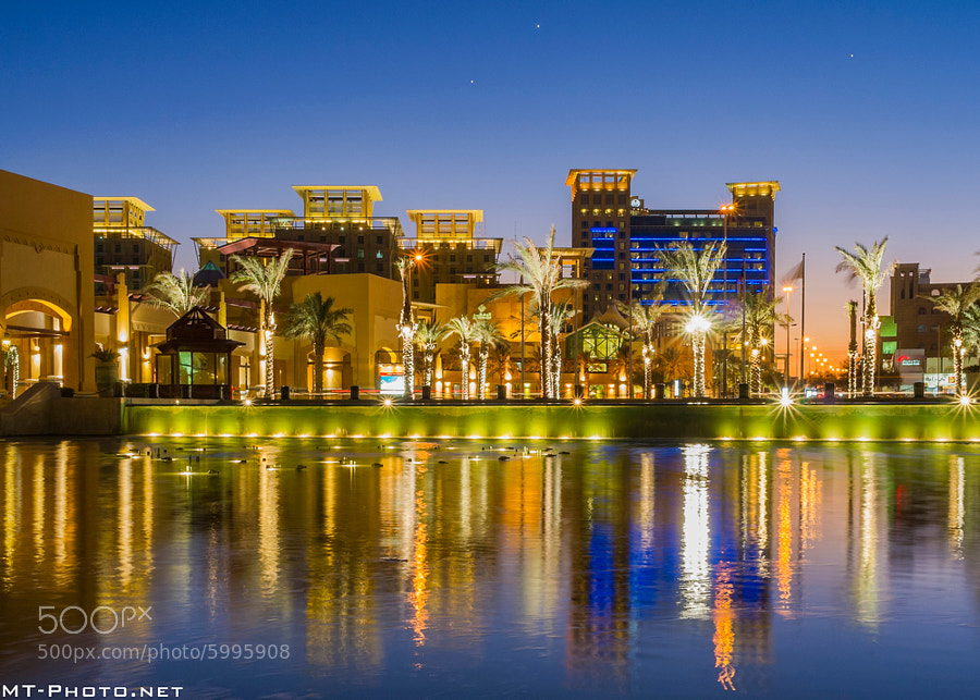 Al-Manshar Rotana Hotel During Blue Hour.