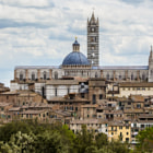 Panorama of Siena Tuscany, historic city under the cathedral (duomo)