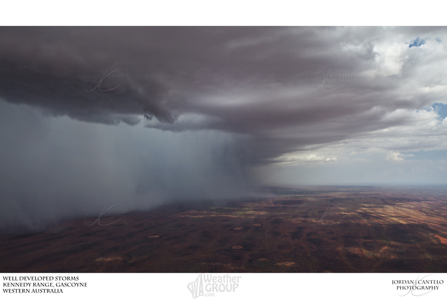 Heavy isolated showers associated with thunderstorms develop over the Kennedy Range in the Gascoyne region of Western Australia.  Check out other photos at  www.jordancantelo.com