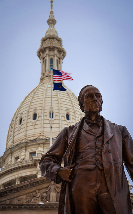 The war governor of Michigan, 1861-64 in front of the state capitol in Lansing.