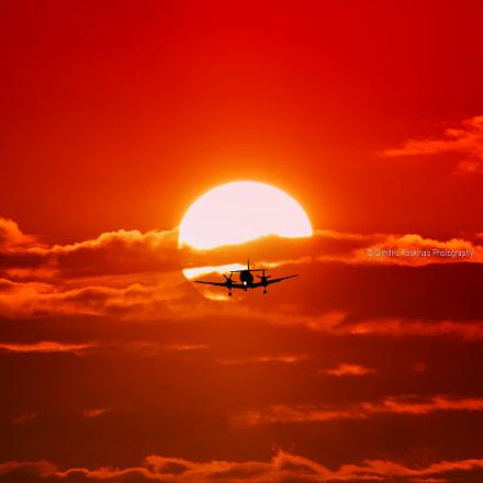 Landing with sunset Sky Express   at Diagoras airport