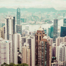 "Panoramic view of Hong Kong from the ""Peak"" on a mostly overcast day"