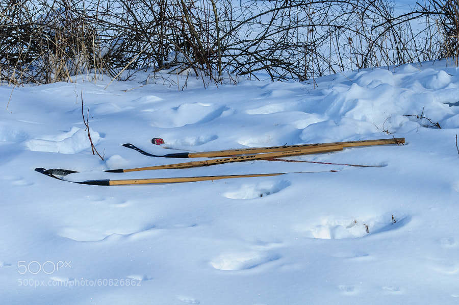 The quiet time for the hockey sticks, waiting to be picked up and played with