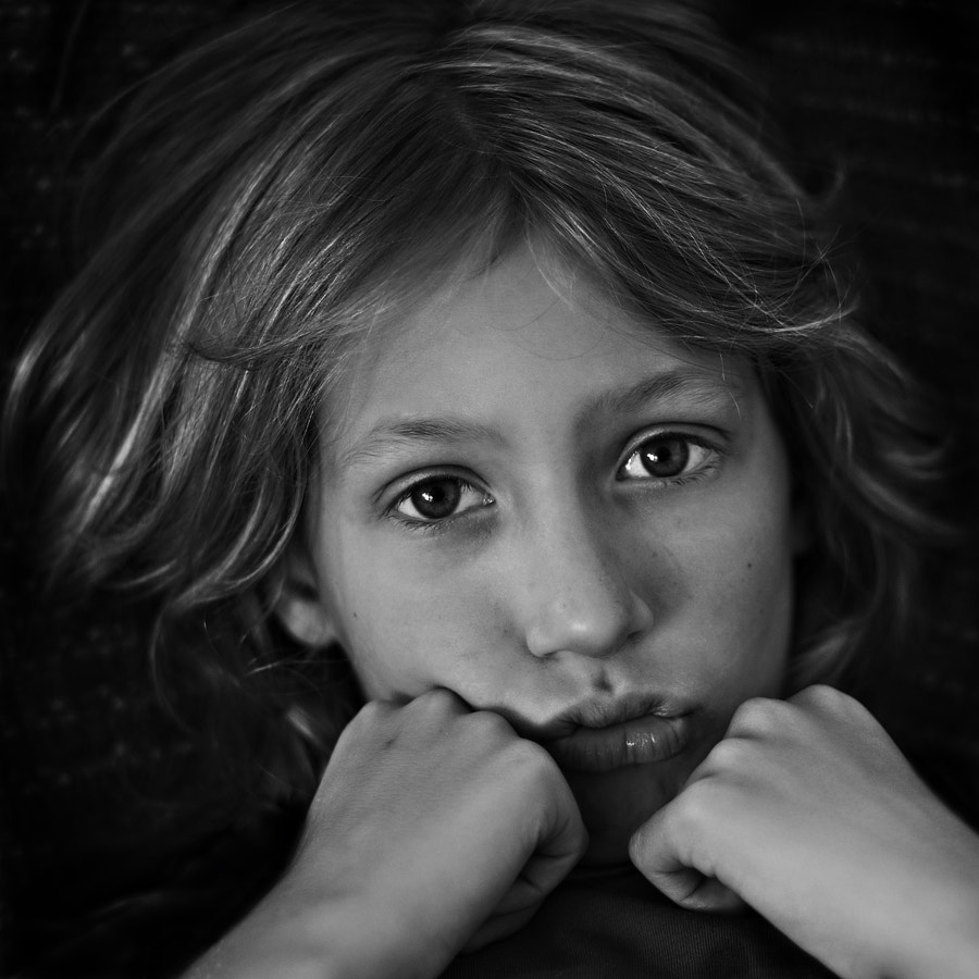 My youngest.  Not a fan of the camera...
