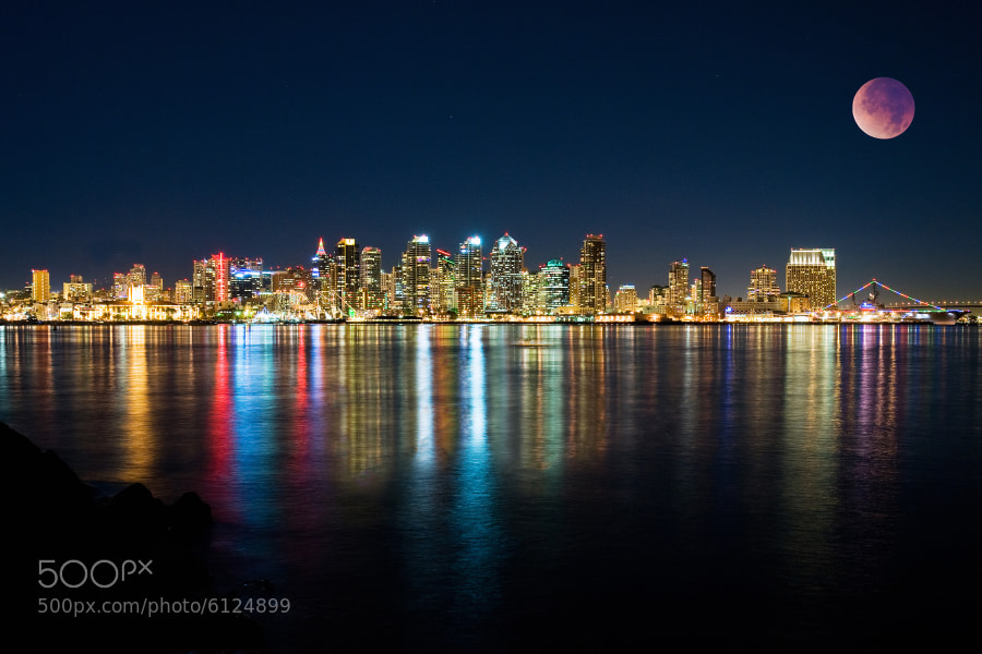 Photograph San Diego and the Lunar Eclipse by Brad Peterson on 500px