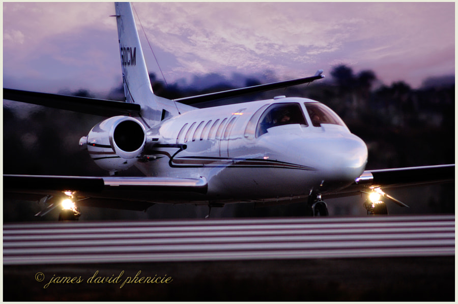 Cessna Citation 560 ready to take runway for departure from Palomar Airport.  Please do not use without permission or compensation.   © James David Phenicie  All Rights Reserved.