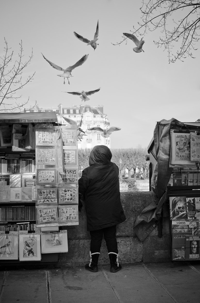 Photograph Secondhand bookseller feeding birds by Vincent Ardiet on 500px