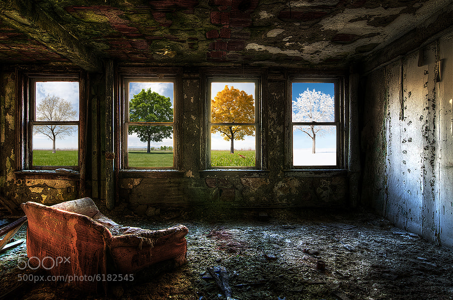 HDR Photograph of seasons through windows