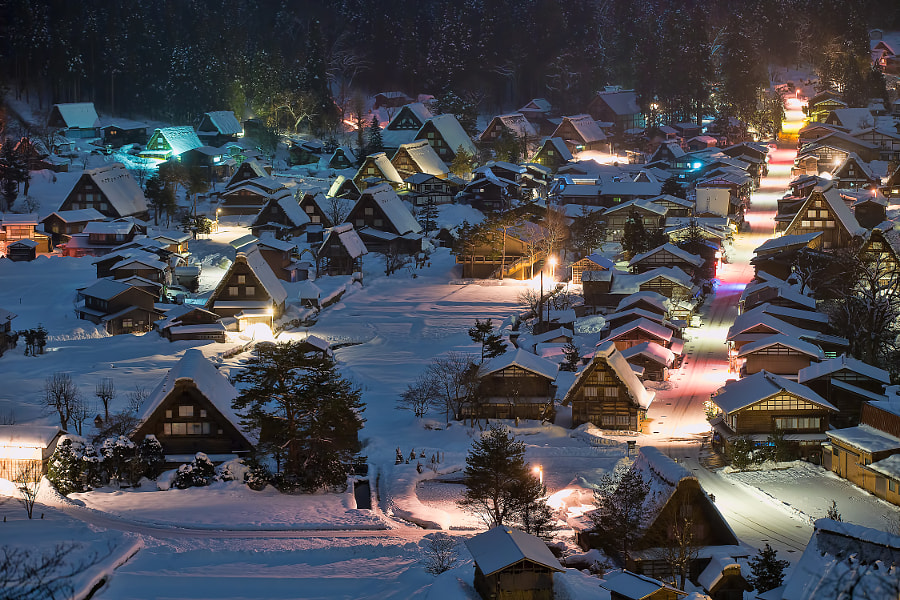 This place is Shirakawa-go in Gifu pref. Japan. Shirakawa village is listed as sites of the world heritage. (taken at 1:25 AM)