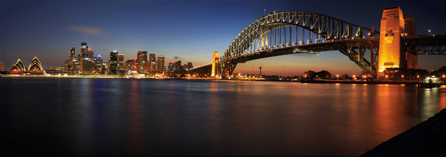 Sydney opera and harbor bridge panorama