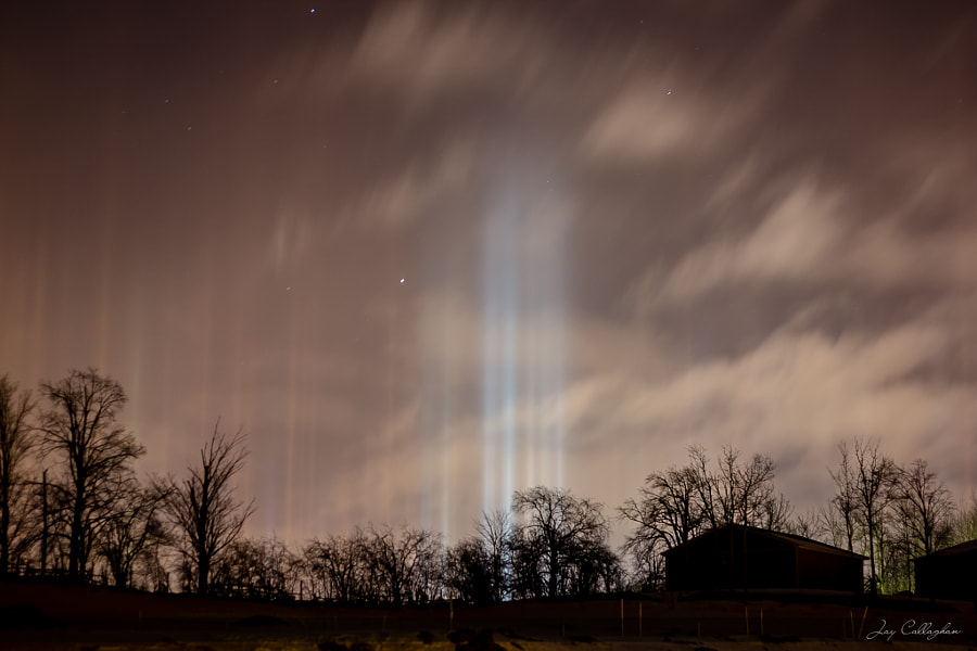 Photograph Light Pillars in the City by Jay Callaghan on 500px