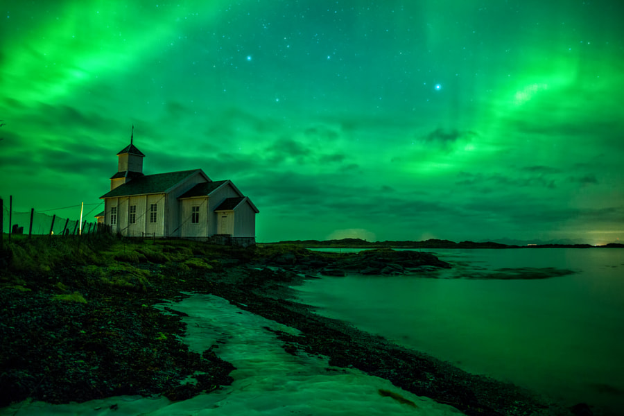 Gimsøy Kirke Aurora by Kenneth Schoth on 500px.com
