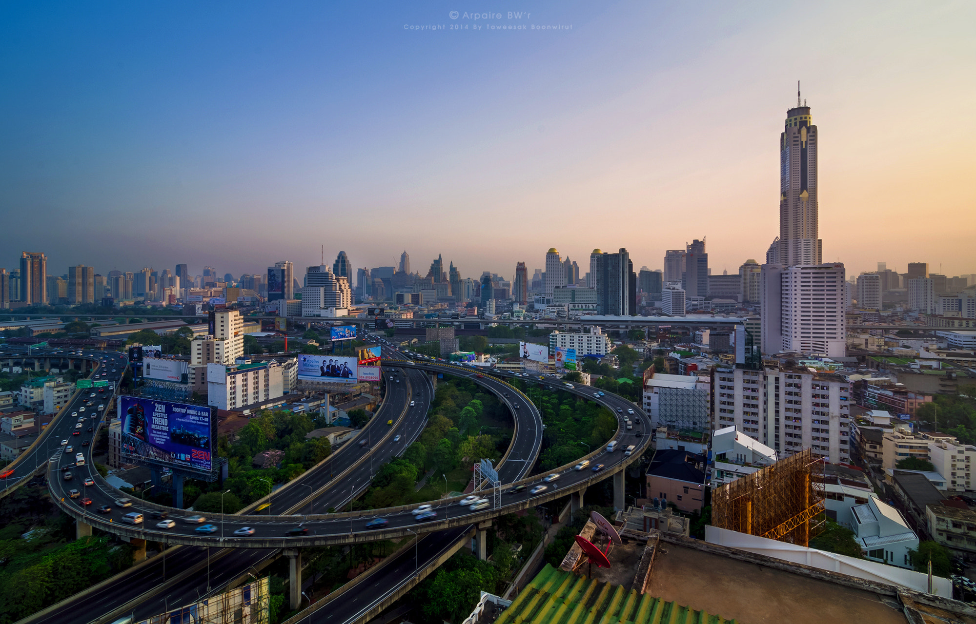 Photograph Cityscape Of Highway In Downtown Of Bangkok City (จตุรทิศ) by Taweesak Boonwirut on 500px