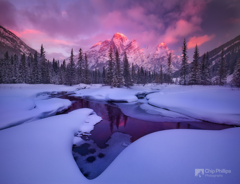 Photograph Mount Kidd Reflecting Pools Winter Horizontal by Chip Phillips on 500px