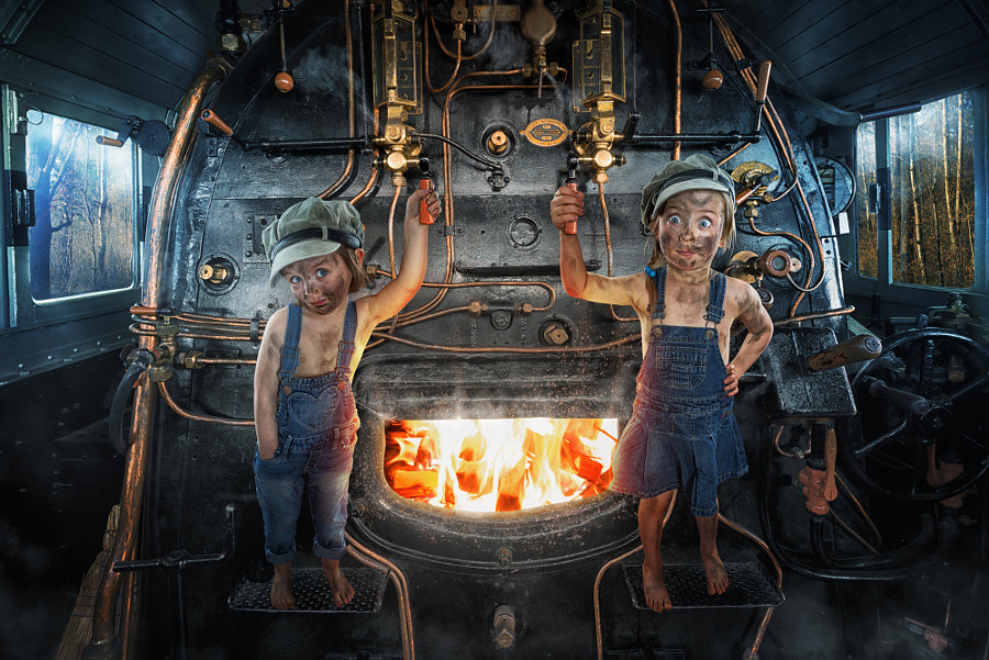 Photograph Mila Button and Lou-ke the Engine Driver by John Wilhelm is a photoholic on 500px