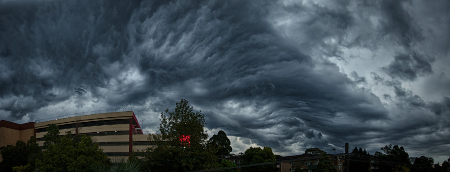 Afternoon autumn storm, rolling in over Hornsby, NSW, Australia.