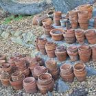 Stacks of clay pots that were found on the a property in Santa Barbara, California.