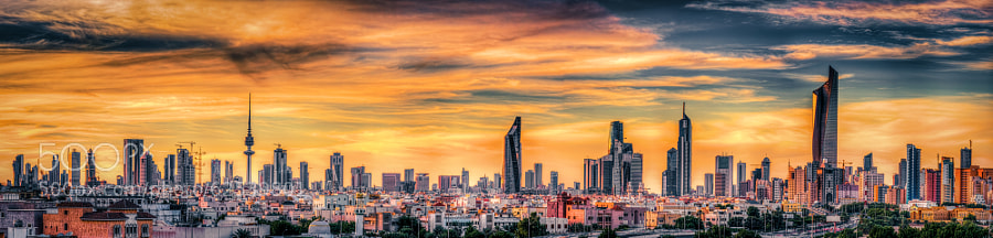 Kuwait Cityscape at sunset