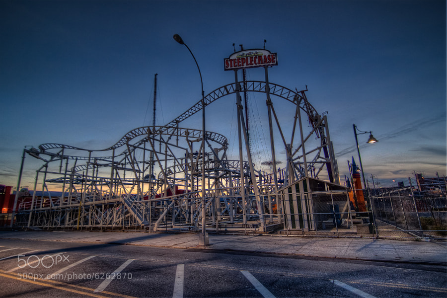 Rollercoaster - HDR out of 3 pictures taken at the Coney Island amusement park