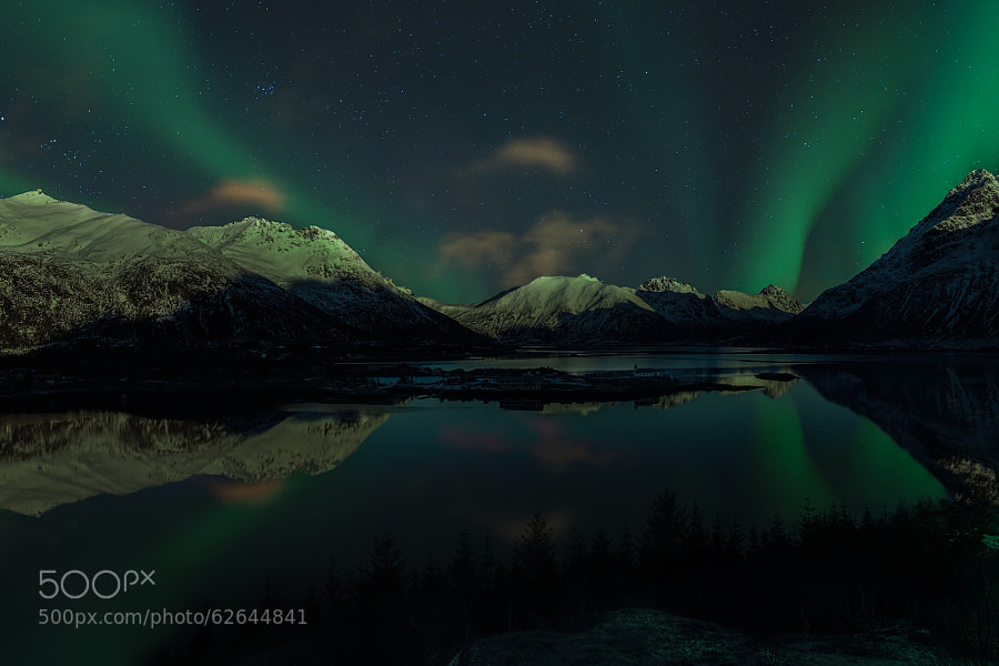 Aurora reflections in Austnesfjord