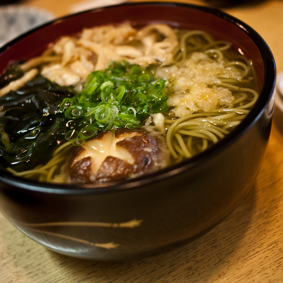 authentic soba soup with seaweed - kyoto - japan