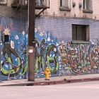 Graffiti painted on the side of a building in downtown, Los Angeles on 7th Street.
