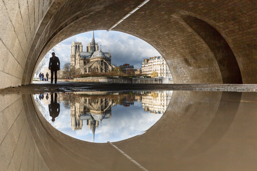 Puddle Mirror Reflection on Notre Dame
