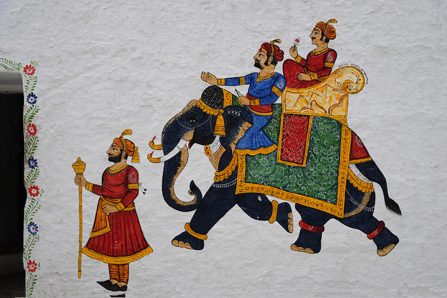 Elephant painted wall in Udaipur, India by Cyril Lecorvaisier on 500px.com