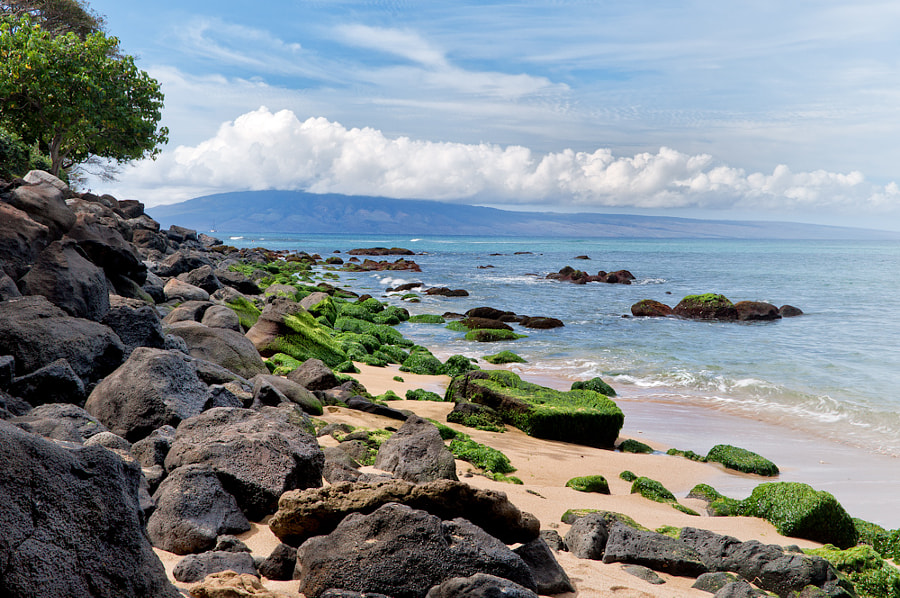West Maui shoreline with Molokai in the distance