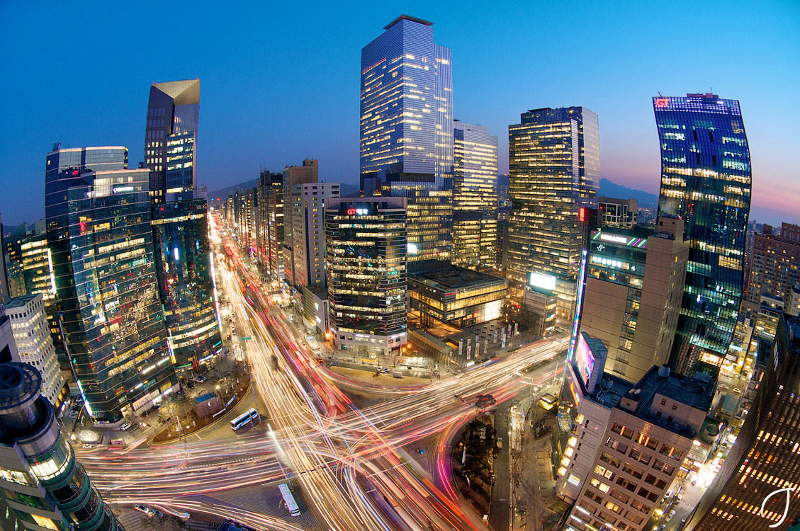 Photograph 강남4거리 Gangnam Intersection magic hour by Romain John on 500px