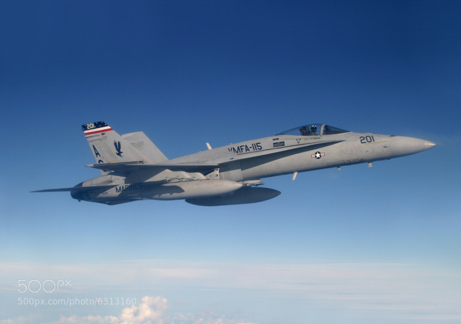 USMC Legacy Hornet caught in flight over the South Atlantic.
