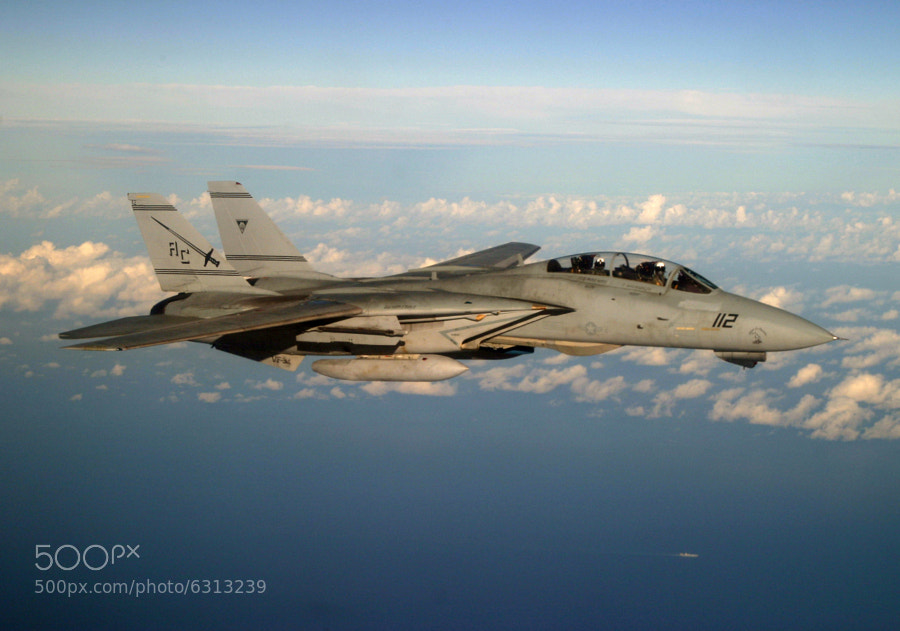 F-14B assigned to the Swordsman of VF-32 photographed over the South Atlantic during a training mission.