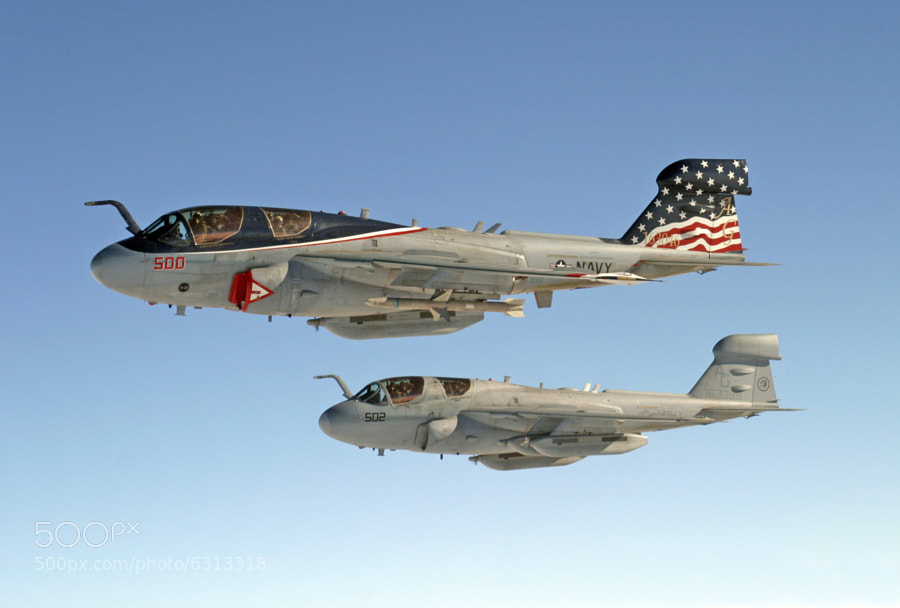 A pair of Grumman EA-6B Prowlers caught over the South Atlantic during a training sortie