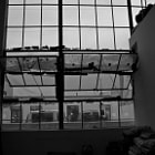 Open windows inside a loft in Downtown, Los Angeles on a rainy day.